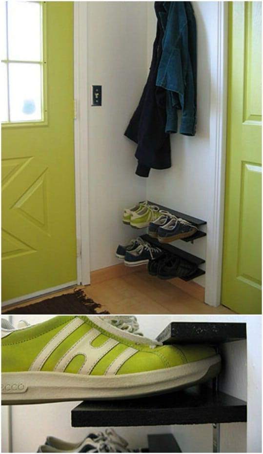 DIY Floating Entryway Shoe Rack