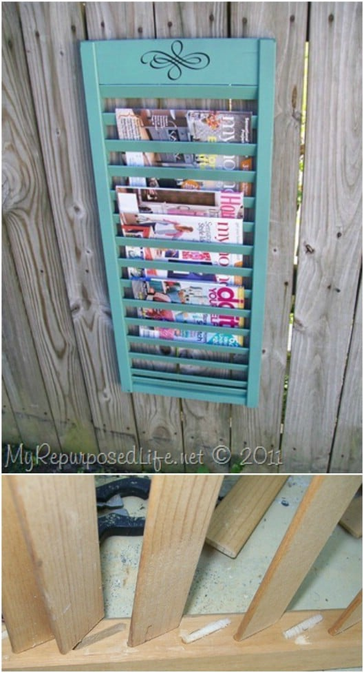 Repurposed Shutter Hanging Magazine Rack