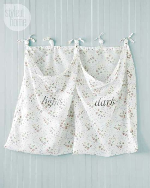 Repurposed Drapery Wall Mounted Laundry Hamper