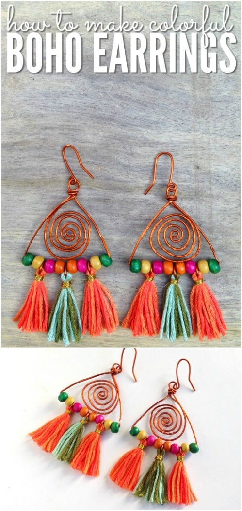 Colorful Copper And Bead Tassel Earrings