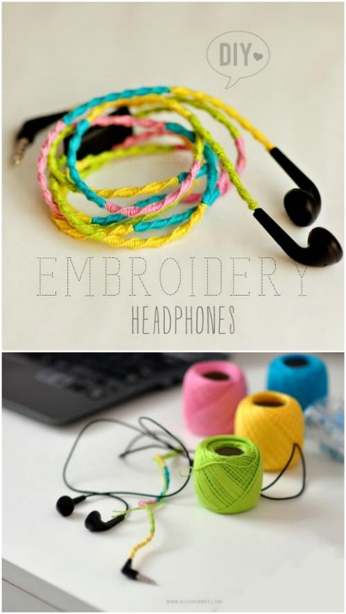 Colorful DIY Embroidered Headphones