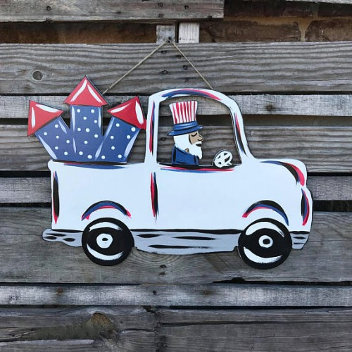 Whimsical Fourth Of July Truck Hanger