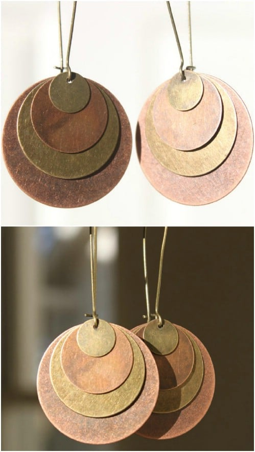 Large Brass Disc Earrings