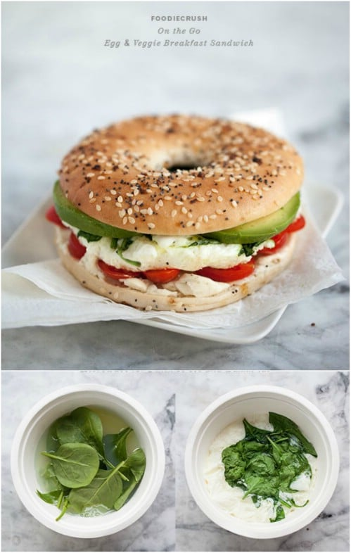 Microwave Egg And Veggie Breakfast Sandwich