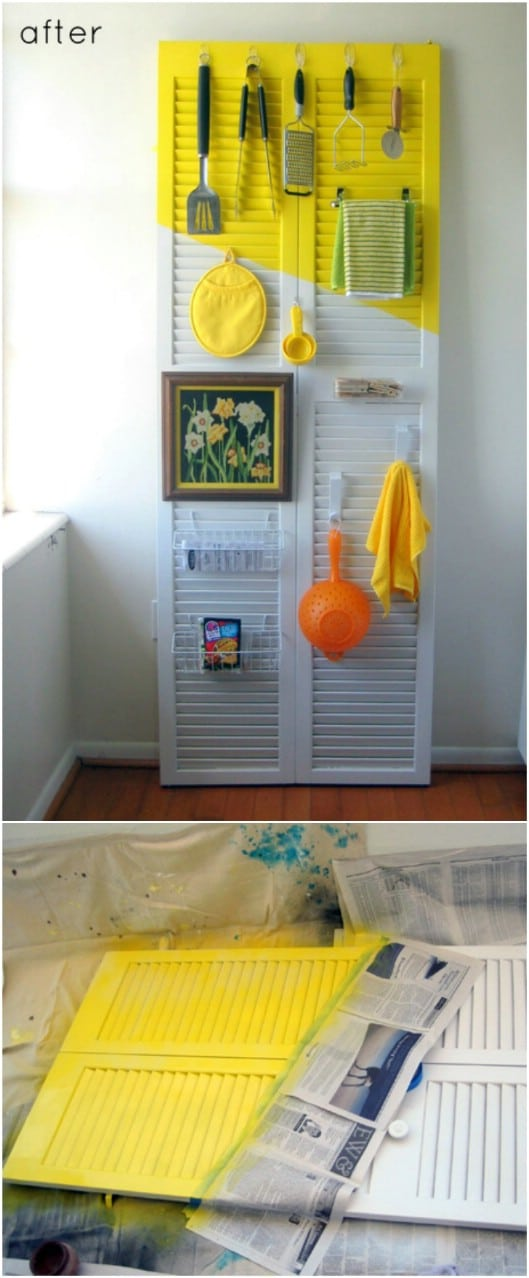 Repurposed Shutter Kitchen Utensil Holder