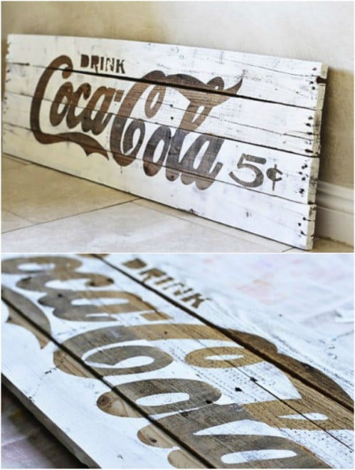 DIY Rustic Pallet Coca-Cola Sign