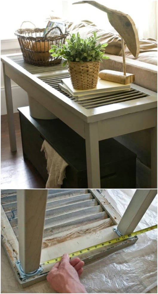 DIY Shutter Sofa Table