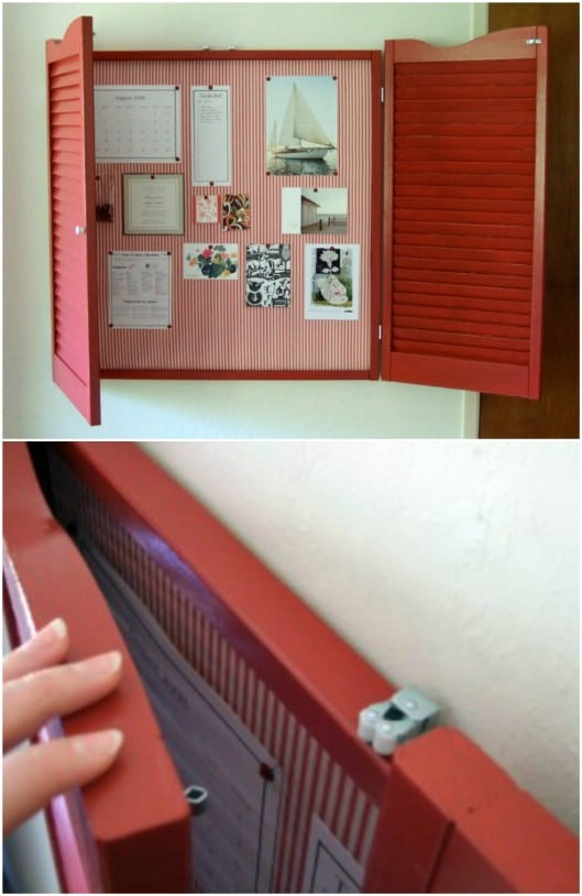 DIY Hinged Door Shutter Bulletin Board