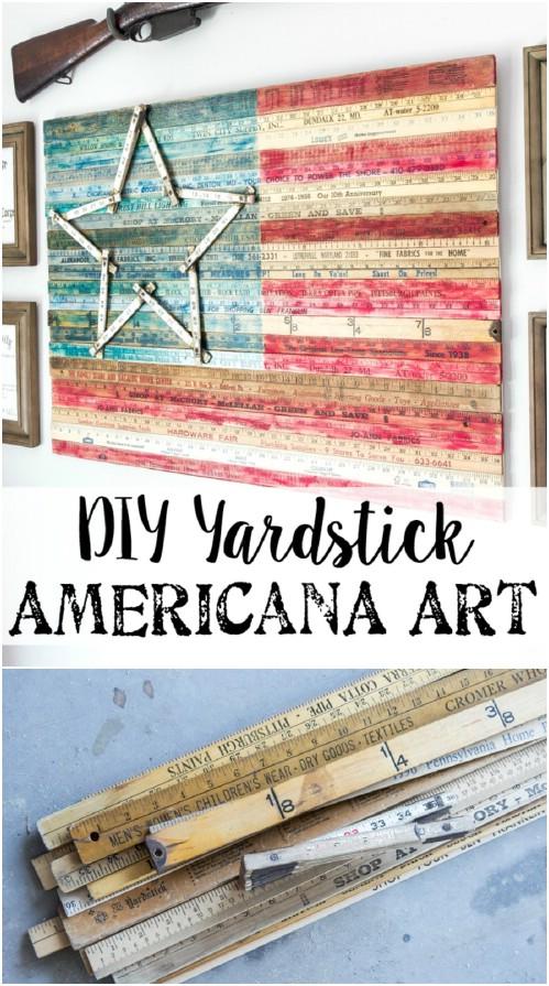 DIY Yardstick American Flag