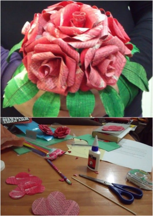 DIY Book Page Flower Bouquet