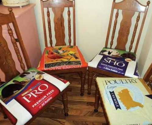 DIY Pet Feed Bag Chair Seat Covers