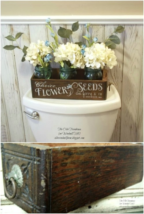 Upcycled Sewing Drawer Flower Display Box