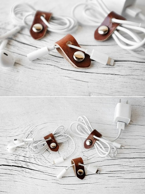 Leather Snap Cord Organizer