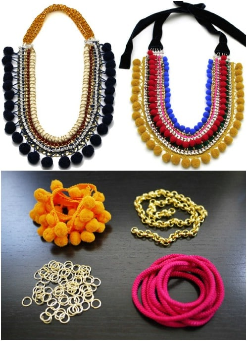 DIY Pom Pom Statement Necklace