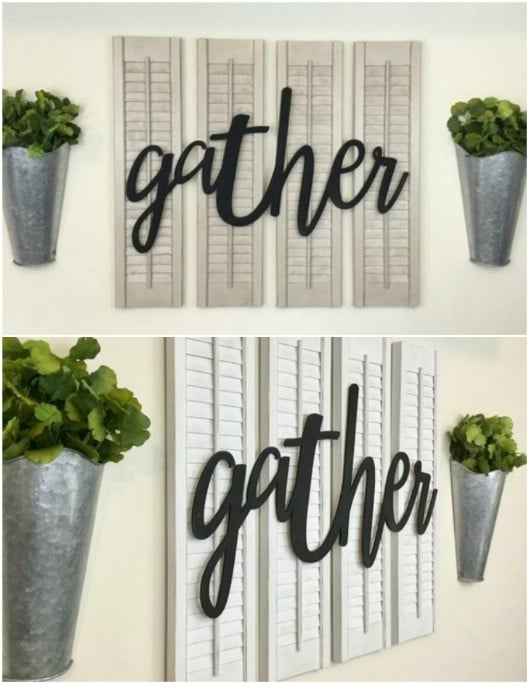 Repurposed Shutter Farmhouse Décor