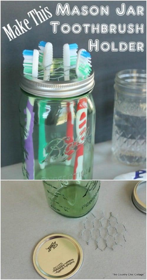 Five Minute Rustic Mason Jar Toothbrush Holder