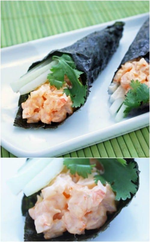 Spicy Shrimp Hand Rolls