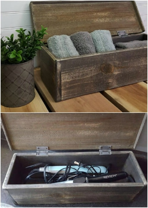 Rustic Wooden Box Towel Storage