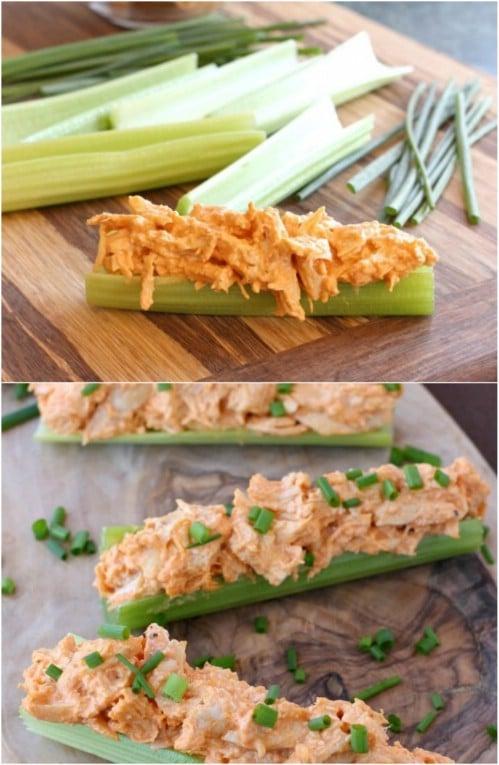Homemade Buffalo Chicken Celery Sticks