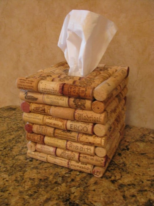 Repurposed Wine Cork Tissue Box Cover