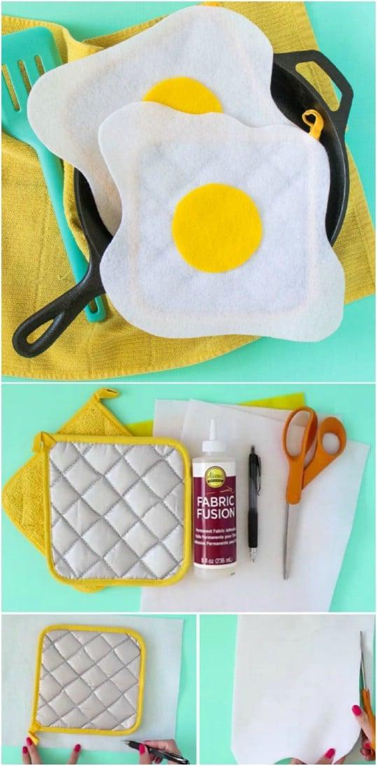 Whimsical No Sew Fried Egg Pot Holders