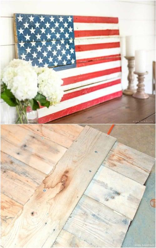 DIY Rustic Pallet American Flag Décor