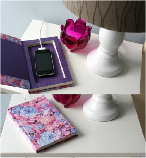 Upcycled Book Phone Charging Station