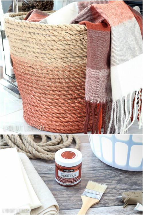 DIY Woven Rope Laundry Basket