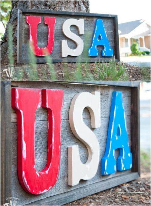 Rustic DIY USA Wooden Sign