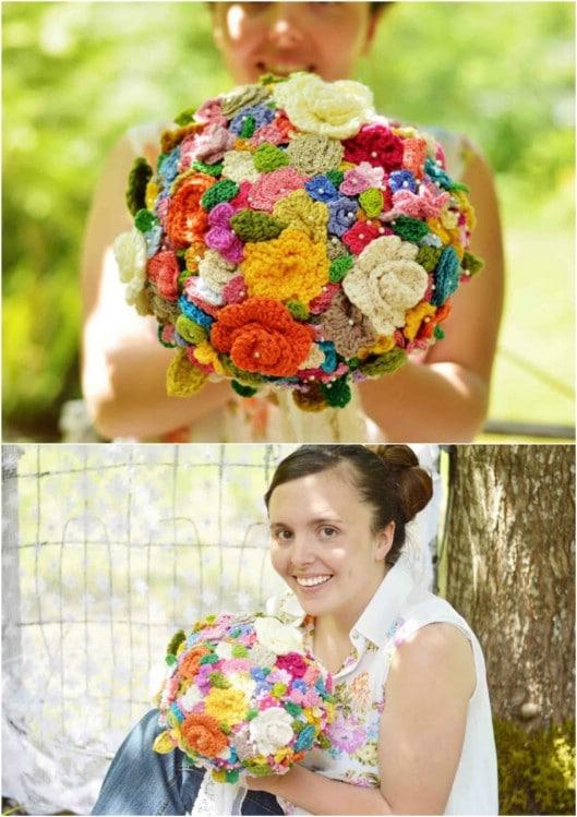 DIY Crocheted Flower Bouquet
