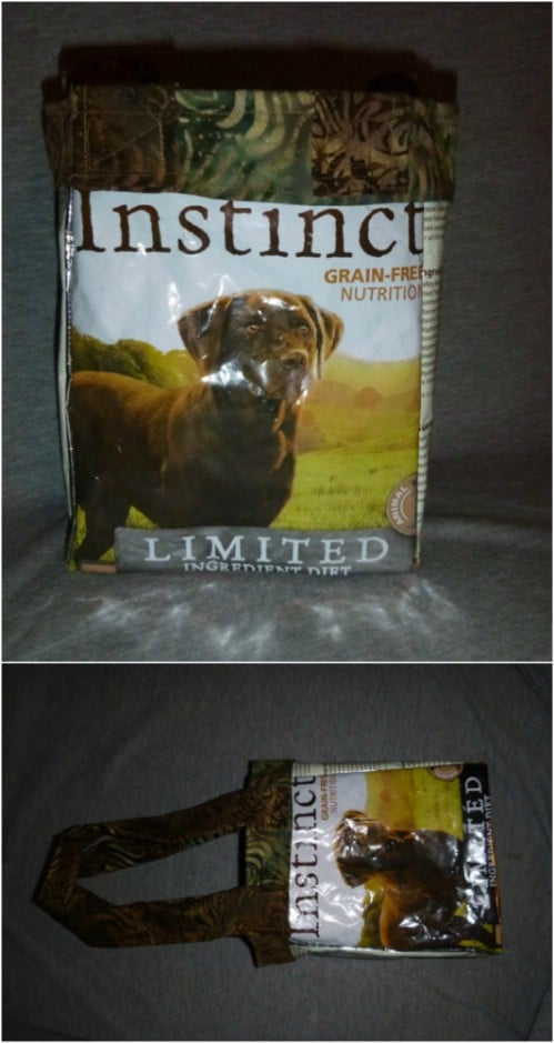 Upcycled Pet Food Bag Tote Bag
