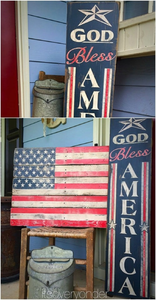 Large Wooden Patriotic Porch Sign