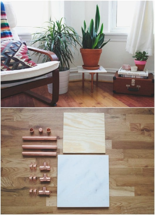 DIY Copper And Marble Plant Stand