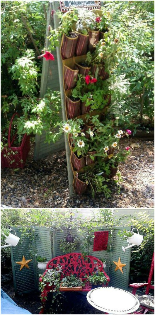 Repurposed Shutter Garden Plant Hanger