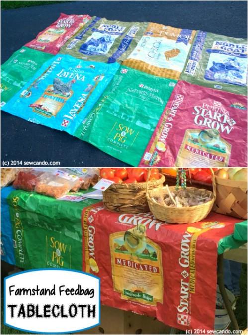 DIY Farm Stand Feed Bag Tablecloth