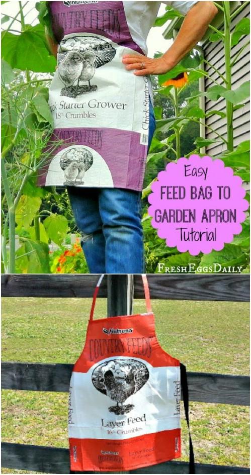 Repurposed Feed Bag Garden Apron