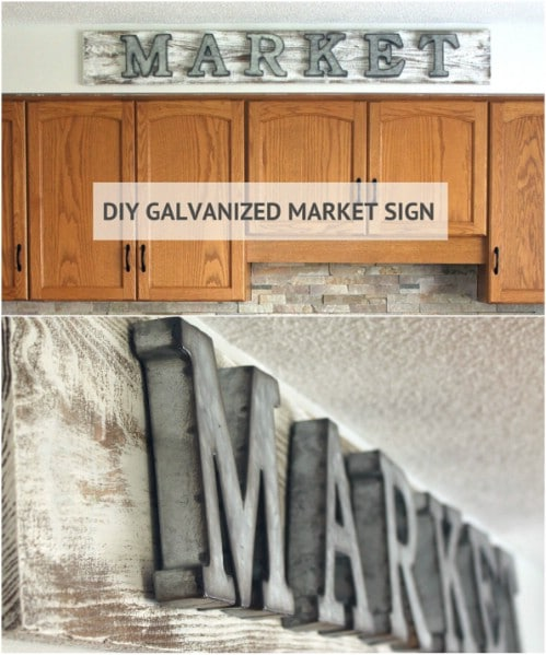 DIY Distressed Galvanized Market Sign
