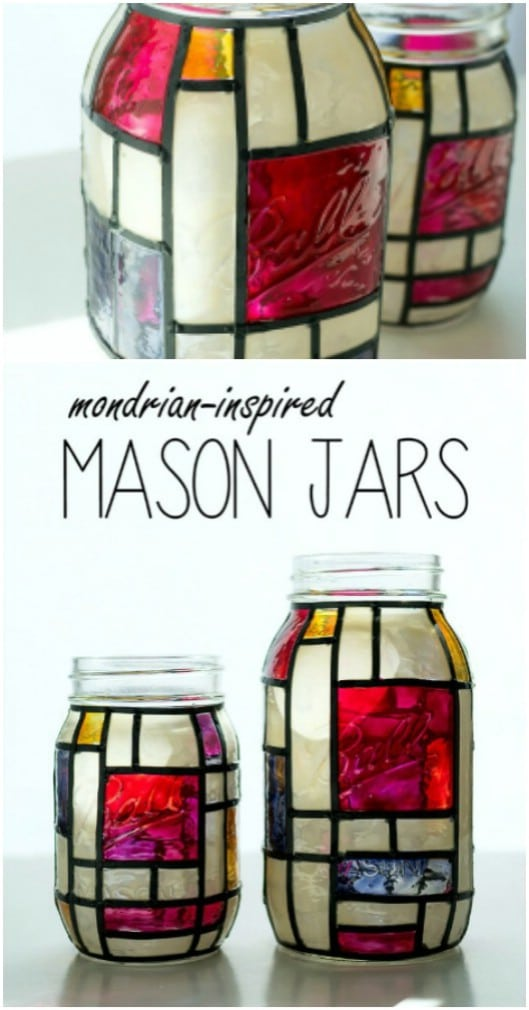 DIY Stained Glass Mason Jar Luminaries