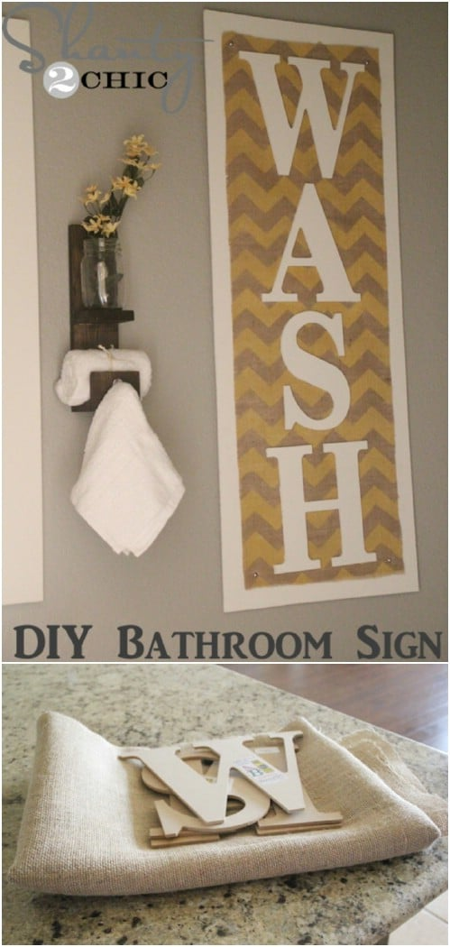 DIY Chevron Burlap Bathroom Sign