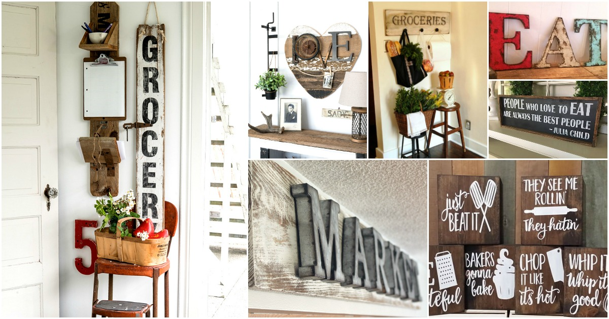20 Rustic DIY Kitchen Signs That Match Your Farmhouse Decor ... on diy rustic kitchen cabinet doors, small rustic kitchen island ideas, diy rustic cottage kitchens, diy rustic kitchen backsplash ideas,