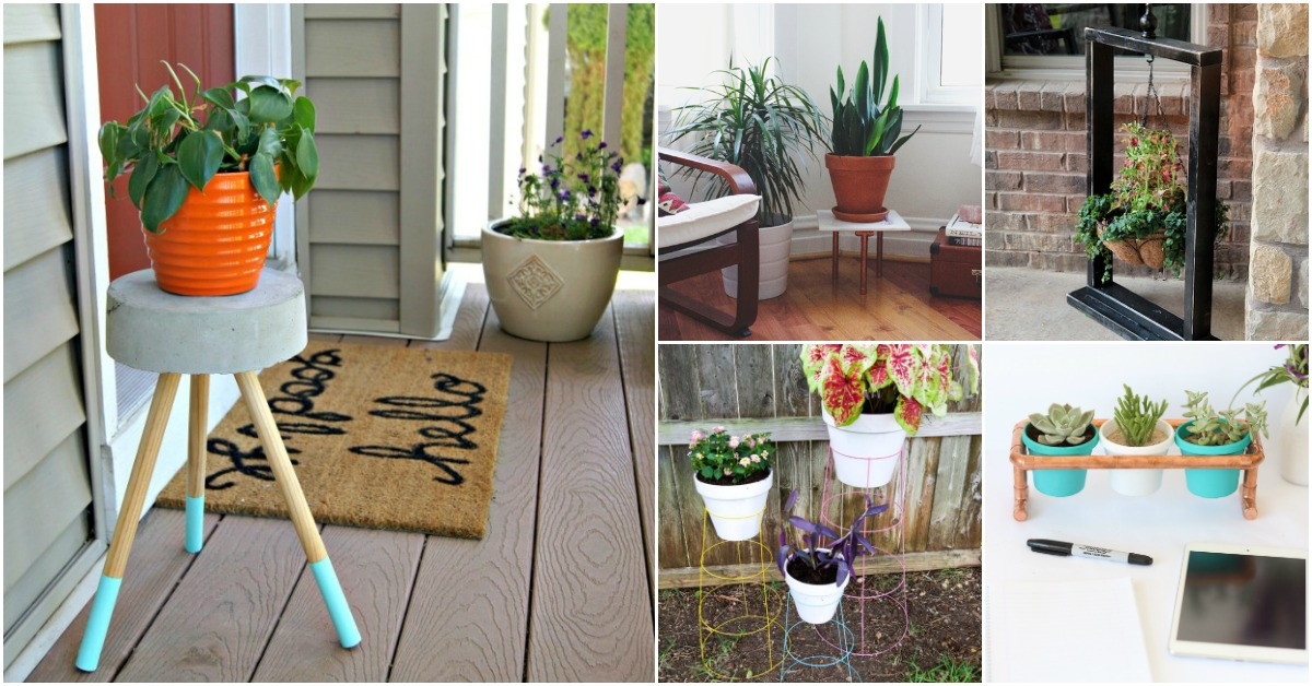 10 Easy Diy Outdoor Plant Stands To Show Off Those Patio Plants In Style Diy Crafts