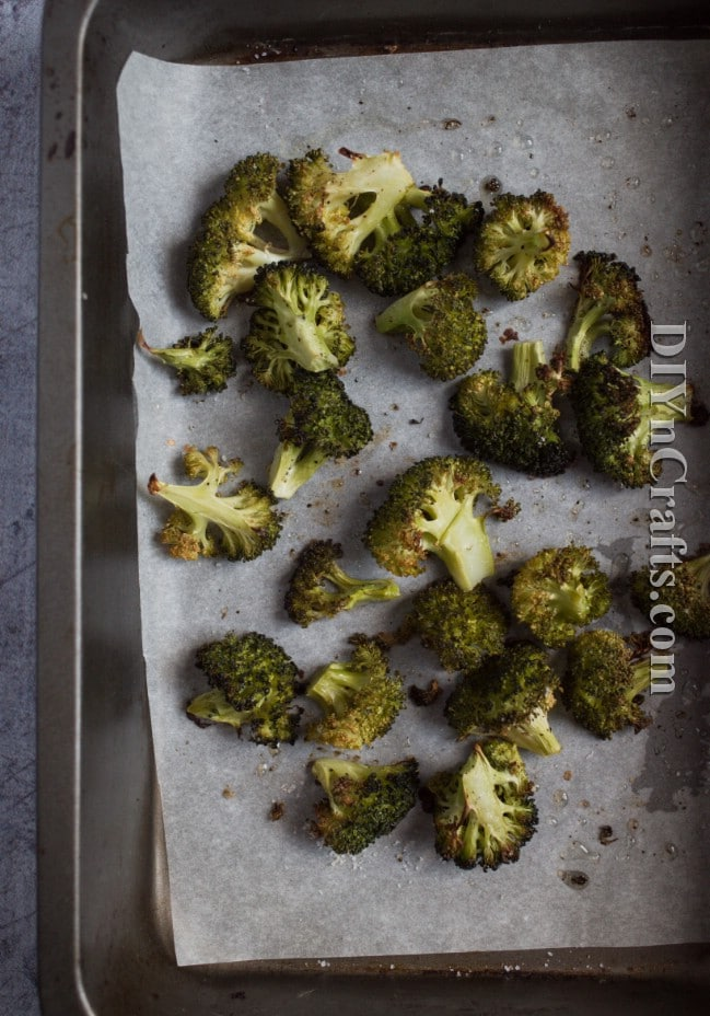 Roasting broccoli.