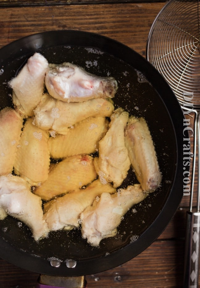 Frying chicken wings for the first time.