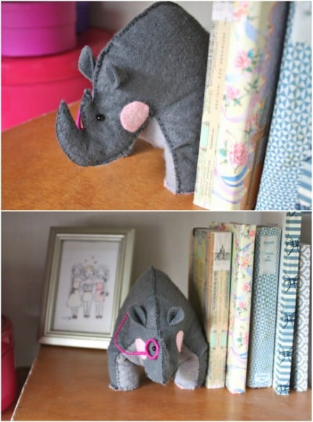 DIY Felt Rhino Bookends