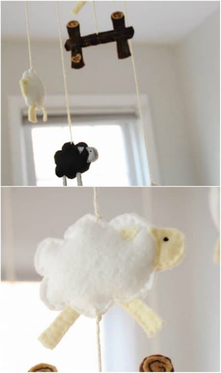 DIY Stuffed Sheep Crib Mobile