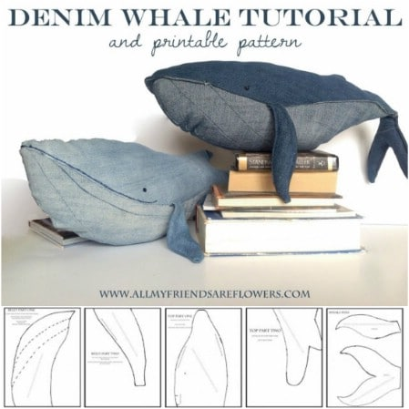 Repurposed Denim Stuffed Whale