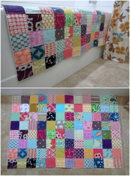Rustic Quilted Patchwork Bath Mat