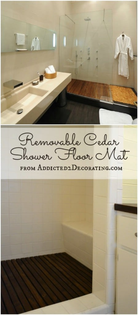 DIY Removable Cedar Shower Floor Mat