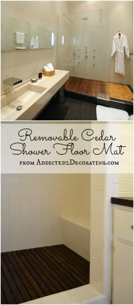 DIY Removable Cedar Shower Floor Mat