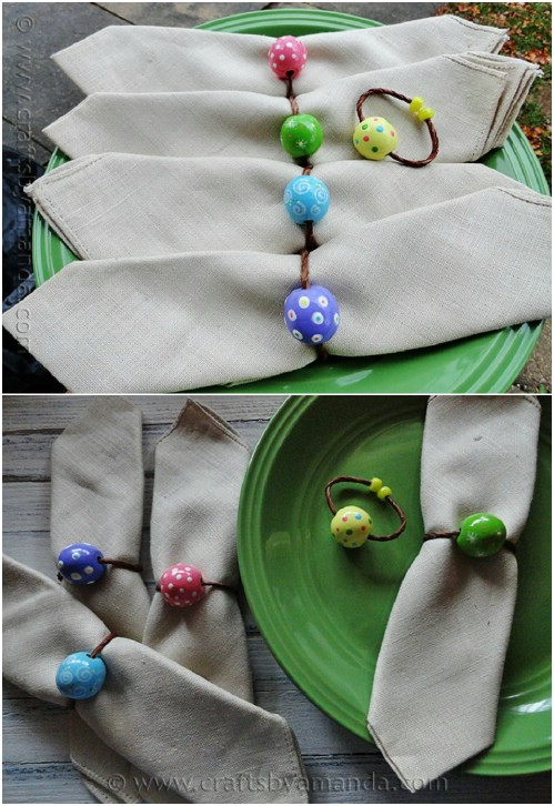 DIY Wooden Bead And Twine Napkin Rings